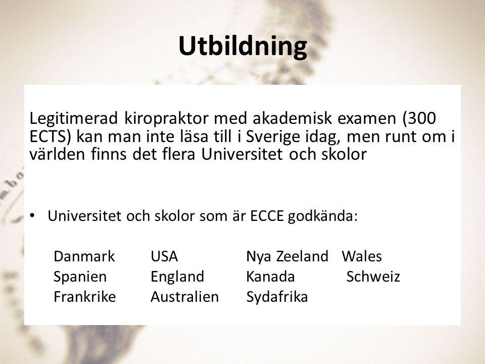 Utbildning Legitimerad kiropraktor med akademisk examen (300 ECTS) kan man inte läsa till i Sverige idag, men runt om i världen finns det flera Univer