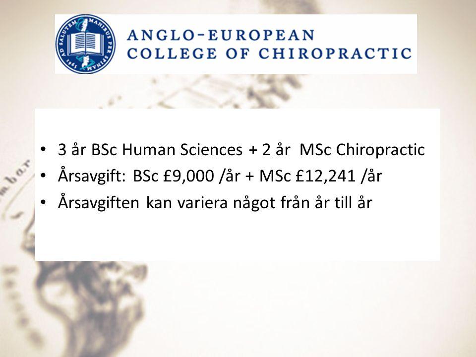 3 år BSc Human Sciences + 2 år MSc Chiropractic Årsavgift: BSc £9,000 /år + MSc £12,241 /år Årsavgiften kan variera något från år till år