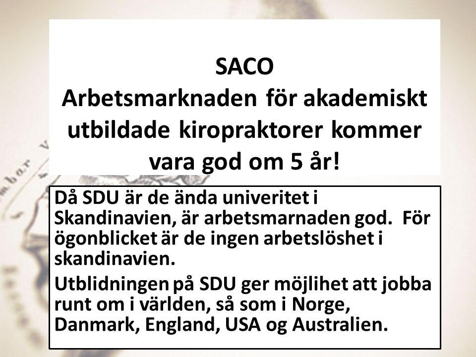 SACO Arbetsmarknaden för akademiskt utbildade kiropraktorer kommer vara god om 5 år! Då SDU är de ända univeritet i Skandinavien, är arbetsmarnaden go