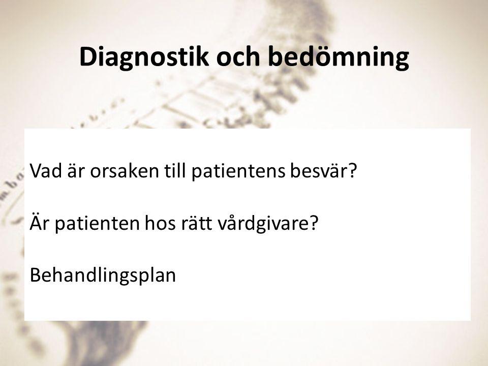 Diagnostik och bedömning Vad är orsaken till patientens besvär? Är patienten hos rätt vårdgivare? Behandlingsplan