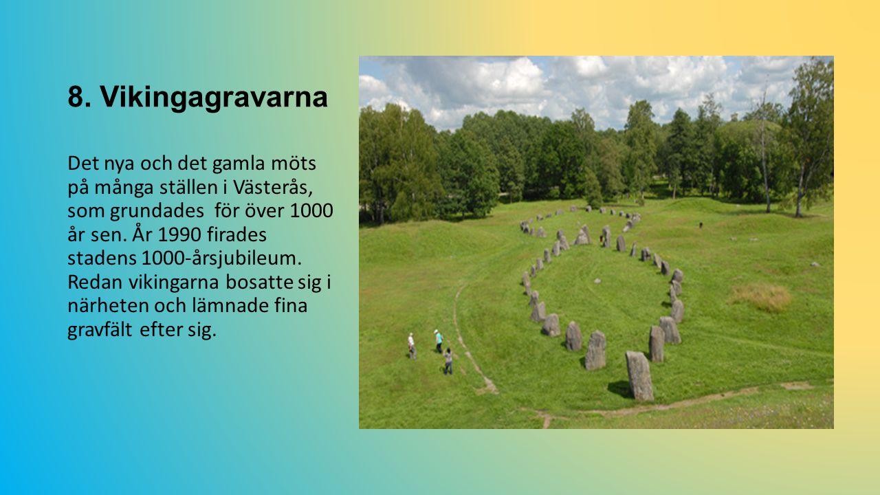 8. Vikingagravarna Det nya och det gamla möts på många ställen i Västerås, som grundades för över 1000 år sen. År 1990 firades stadens 1000-årsjubileu