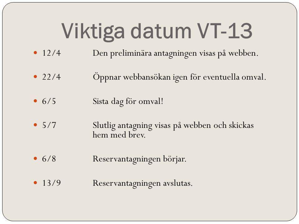 Viktiga datum VT-13 12/4Den preliminära antagningen visas på webben. 22/4Öppnar webbansökan igen för eventuella omval. 6/5Sista dag för omval! 5/7Slut