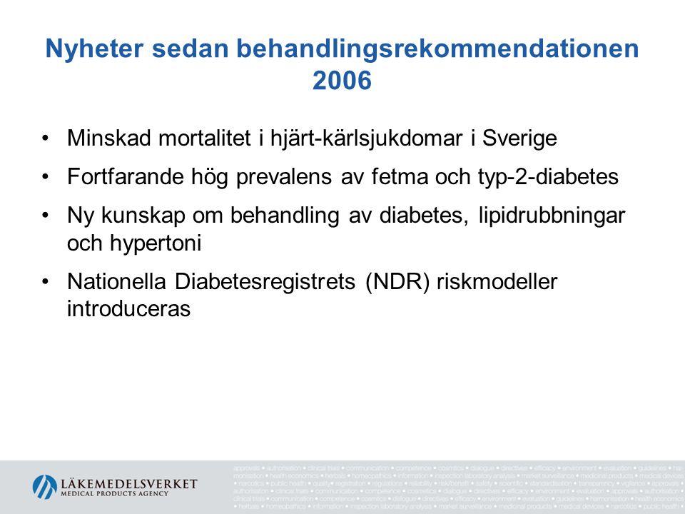 Nyheter sedan behandlingsrekommendationen 2006 Minskad mortalitet i hjärt-kärlsjukdomar i Sverige Fortfarande hög prevalens av fetma och typ-2-diabete