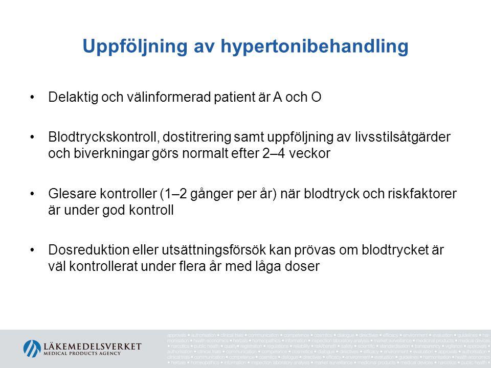 Uppföljning av hypertonibehandling Delaktig och välinformerad patient är A och O Blodtryckskontroll, dostitrering samt uppföljning av livsstilsåtgärde