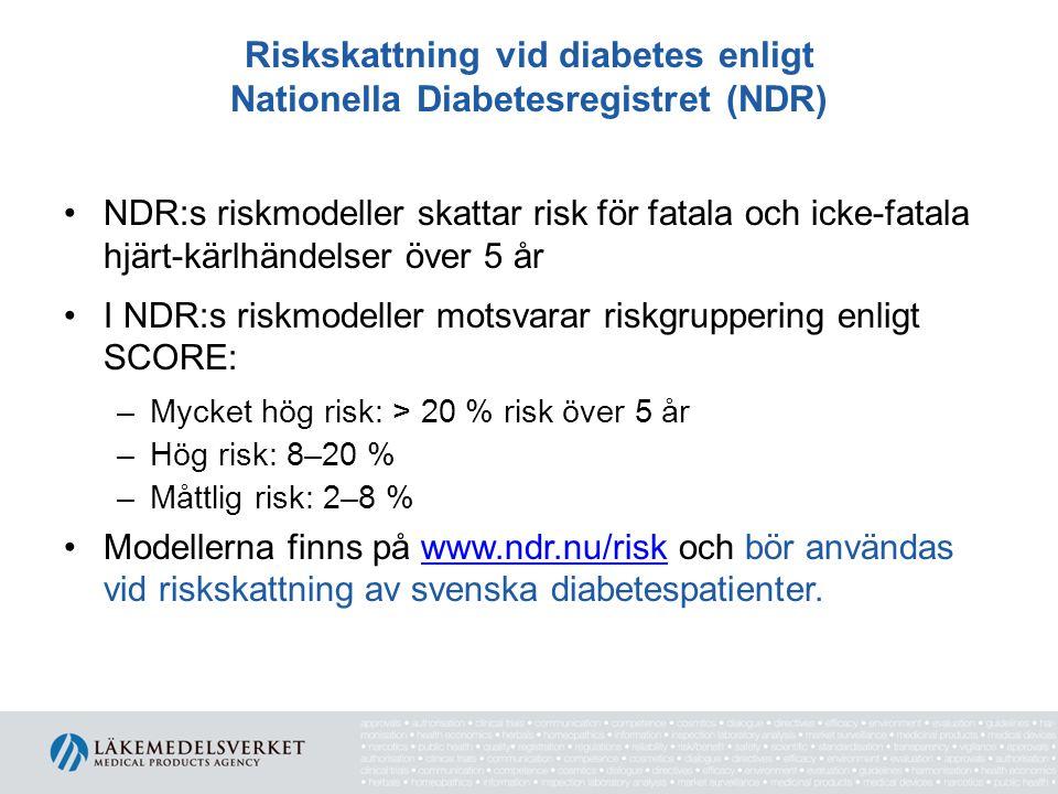 Riskskattning vid diabetes enligt Nationella Diabetesregistret (NDR) NDR:s riskmodeller skattar risk för fatala och icke-fatala hjärt-kärlhändelser öv