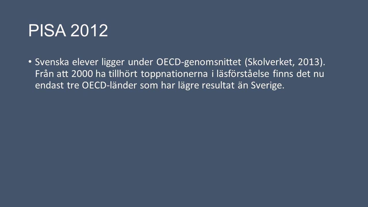 PISA 2012 Svenska elever ligger under OECD-genomsnittet (Skolverket, 2013). Från att 2000 ha tillhört toppnationerna i läsförståelse finns det nu enda