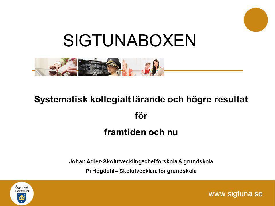 www.sigtuna.se Systematisk kollegialt lärande och högre resultat för framtiden och nu Johan Adler- Skolutvecklingschef förskola & grundskola Pi Högdah
