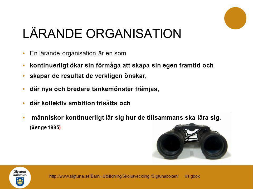 LÄRANDE ORGANISATION En lärande organisation är en som kontinuerligt ökar sin förmåga att skapa sin egen framtid och skapar de resultat de verkligen ö