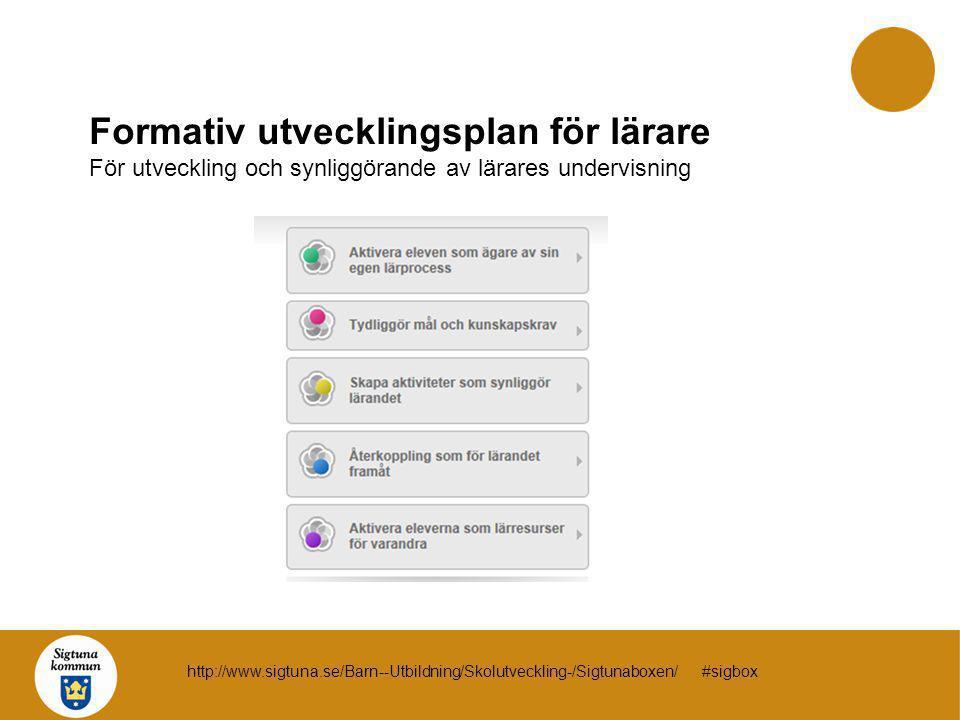 Formativ utvecklingsplan för lärare För utveckling och synliggörande av lärares undervisning http://www.sigtuna.se/Barn--Utbildning/Skolutveckling-/Si