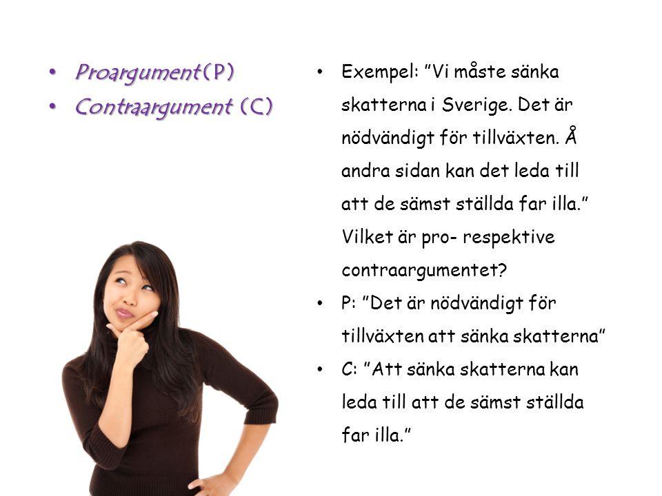 Exempel: Vi måste sänka skatterna i Sverige. Det är nödvändigt för tillväxten.