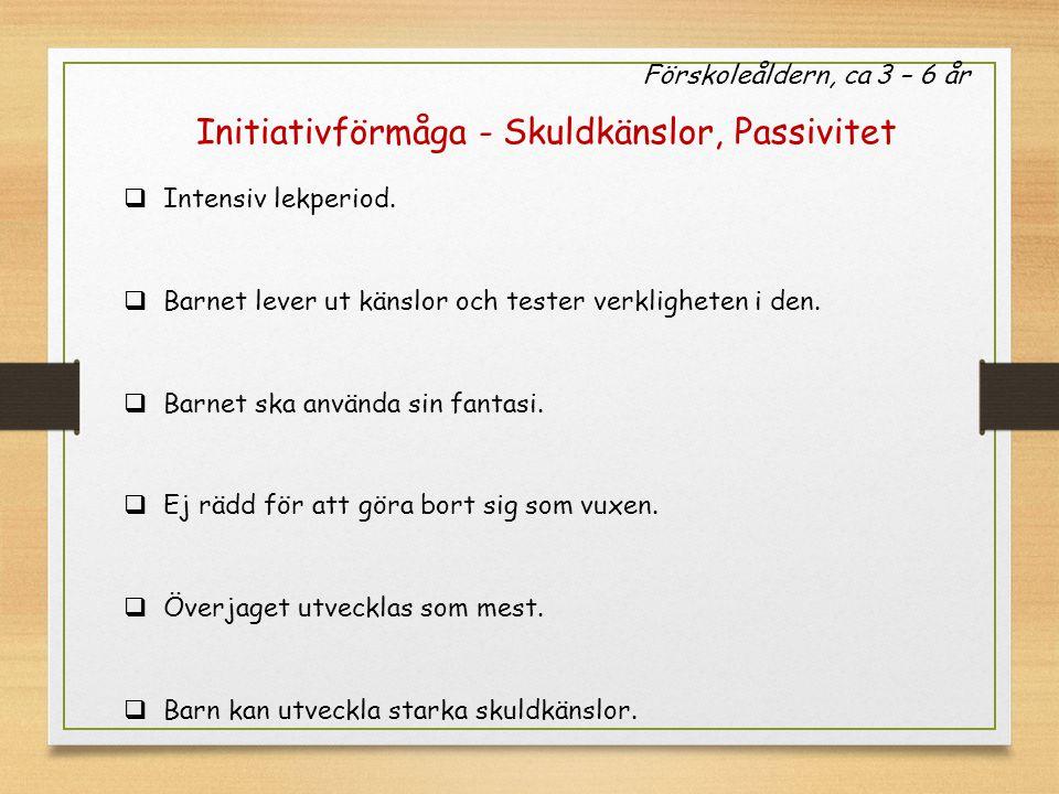 Förskoleåldern, ca 3 – 6 år Initiativförmåga - Skuldkänslor, Passivitet  Intensiv lekperiod.