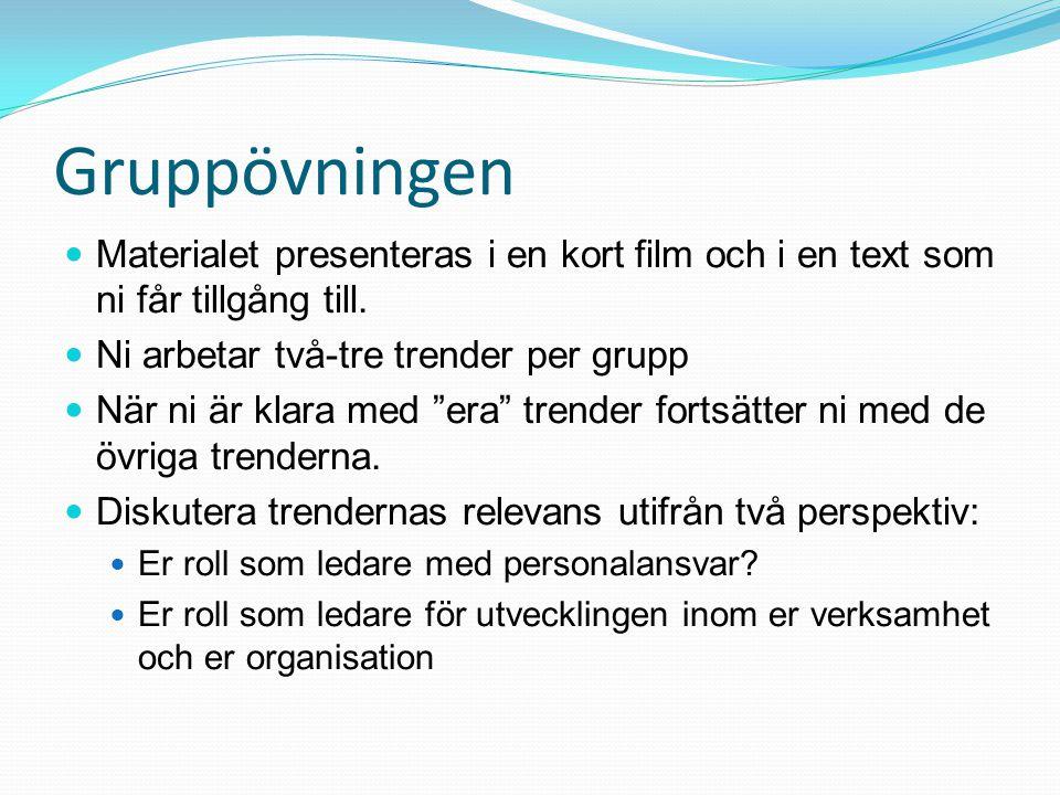 """Gruppövningen Materialet presenteras i en kort film och i en text som ni får tillgång till. Ni arbetar två-tre trender per grupp När ni är klara med """""""