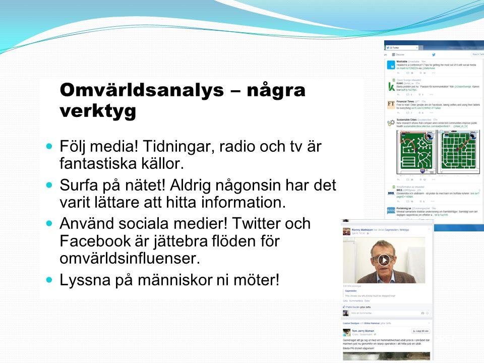Omvärldsanalys – några verktyg Följ media! Tidningar, radio och tv är fantastiska källor. Surfa på nätet! Aldrig någonsin har det varit lättare att hi