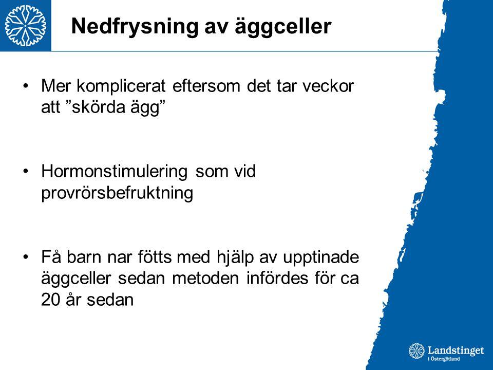 Nedfrysning av äggceller Mer komplicerat eftersom det tar veckor att skörda ägg Hormonstimulering som vid provrörsbefruktning Få barn nar fötts med hjälp av upptinade äggceller sedan metoden infördes för ca 20 år sedan