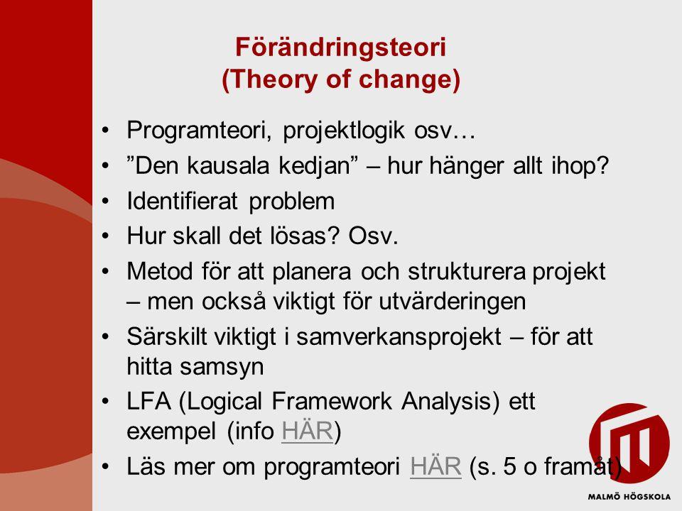 """Förändringsteori (Theory of change) Programteori, projektlogik osv… """"Den kausala kedjan"""" – hur hänger allt ihop? Identifierat problem Hur skall det lö"""
