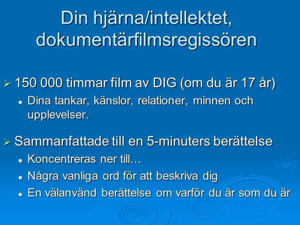 Din hjärna/intellektet, dokumentärfilmsregissören  150 000 timmar film av DIG (om du är 17 år) Dina tankar, känslor, relationer, minnen och upplevels