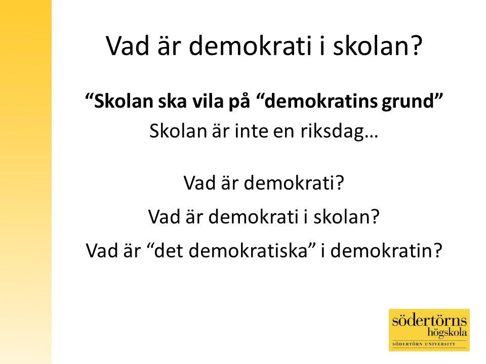 Vad är demokrati i skolan.