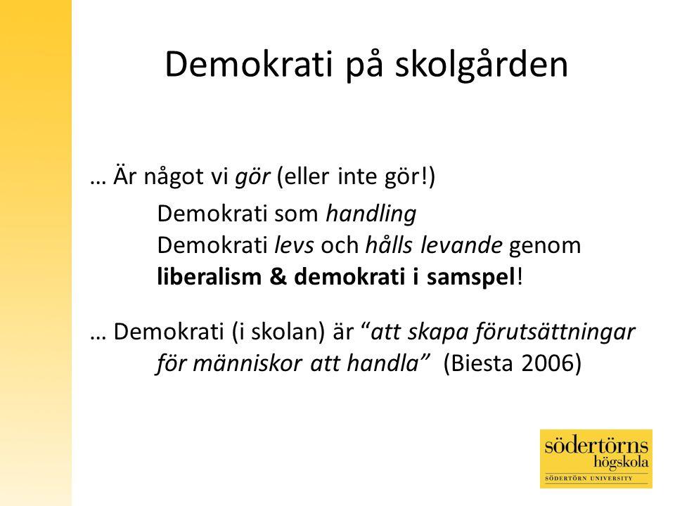 Demokrati på skolgården … Är något vi gör (eller inte gör!) Demokrati som handling Demokrati levs och hålls levande genom liberalism & demokrati i samspel.