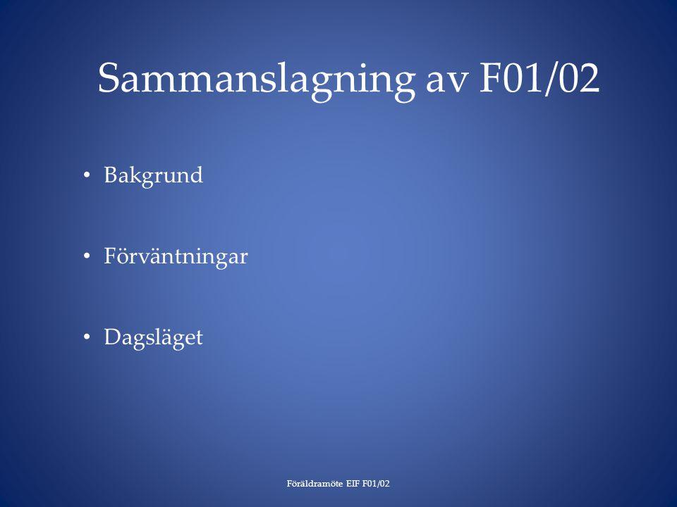 Sammanslagning av F01/02 Föräldramöte EIF F01/02 Bakgrund Förväntningar Dagsläget