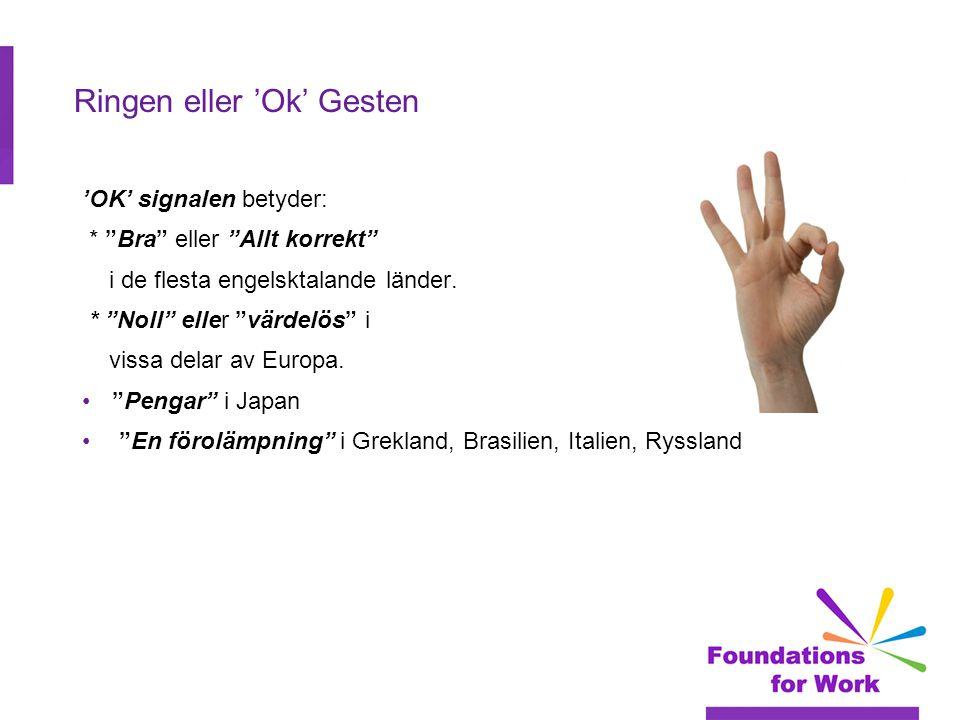 Ringen eller 'Ok' Gesten 'OK' signalen betyder: * Bra eller Allt korrekt i de flesta engelsktalande länder.