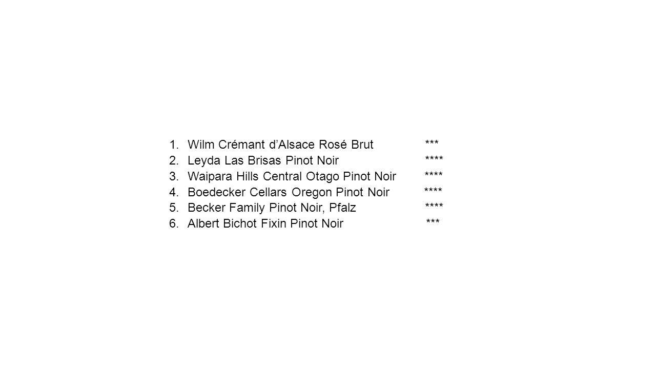 1.Wilm Crémant d'Alsace Rosé Brut *** 2.Leyda Las Brisas Pinot Noir **** 3.Waipara Hills Central Otago Pinot Noir **** 4.Boedecker Cellars Oregon Pino