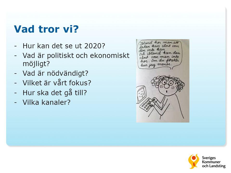 Vad tror vi? -Hur kan det se ut 2020? -Vad är politiskt och ekonomiskt möjligt? -Vad är nödvändigt? -Vilket är vårt fokus? -Hur ska det gå till? -Vilk