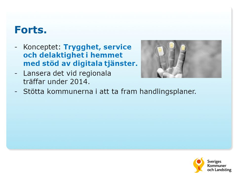 Forts. -Konceptet: Trygghet, service och delaktighet i hemmet med stöd av digitala tjänster. -Lansera det vid regionala träffar under 2014. -Stötta ko