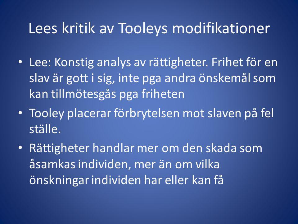 Lees kritik av Tooleys modifikationer Lee: Konstig analys av rättigheter.