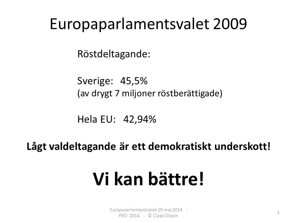 Europaparlamentsvalet 2009 Röstdeltagande: Sverige: 45,5% (av drygt 7 miljoner röstberättigade) Hela EU: 42,94% Lågt valdeltagande är ett demokratiskt underskott.
