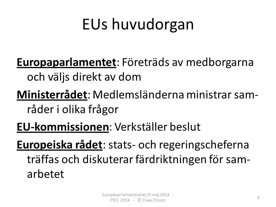 Europaparlamentet har mycket makt: Beslutar i en mängd frågor Godkänner andras beslut för att dessa skall gälla Kommer med förslag Europaparlamentsvalet 25 maj 2014 - PRO 2014 - © Claes Olsson 7