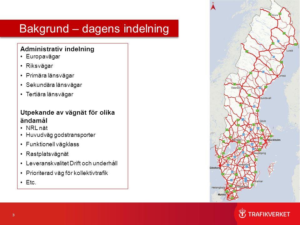 3 Administrativ indelning Europavägar Riksvägar Primära länsvägar Sekundära länsvägar Tertiära länsvägar Utpekande av vägnät för olika ändamål NRL nät