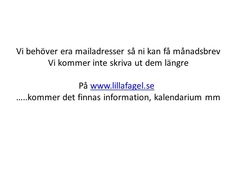 Vi behöver era mailadresser så ni kan få månadsbrev Vi kommer inte skriva ut dem längre På www.lillafagel.sewww.lillafagel.se …..kommer det finnas inf