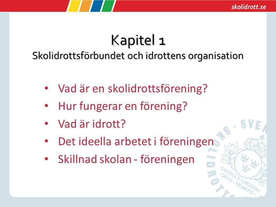 Kapitel 1 Skolidrottsförbundet och idrottens organisation Vad är en skolidrottsförening.