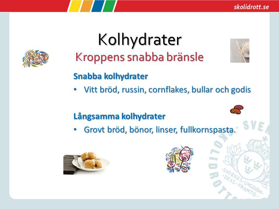 Kolhydrater Kroppens snabba bränsle Snabba kolhydrater Vitt bröd, russin, cornflakes, bullar och godis Vitt bröd, russin, cornflakes, bullar och godis