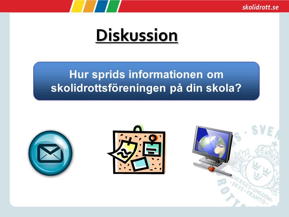 Diskussion Hur sprids informationen om skolidrottsföreningen på din skola?