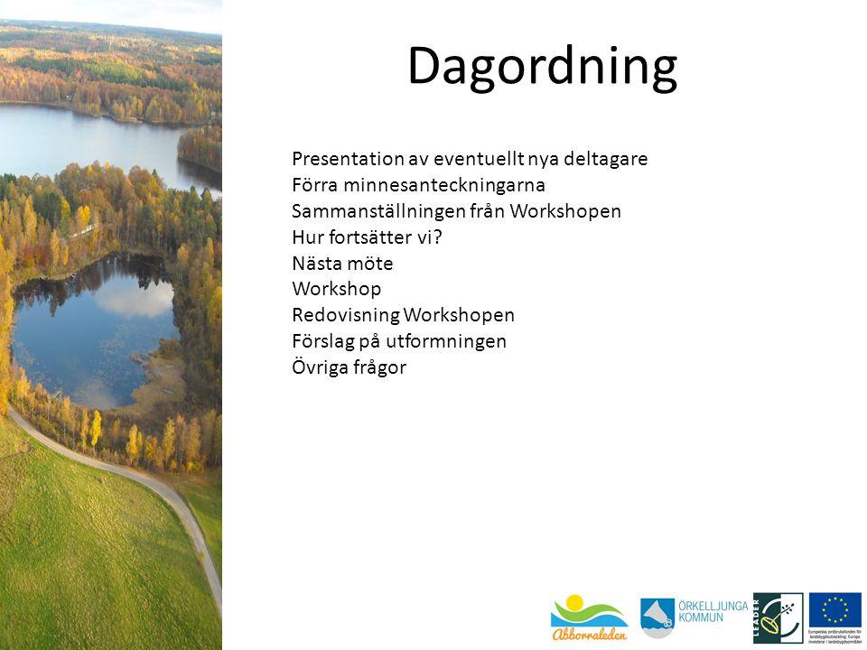 Presentation av eventuellt nya deltagare Förra minnesanteckningarna Sammanställningen från Workshopen Hur fortsätter vi? Nästa möte Workshop Redovisni
