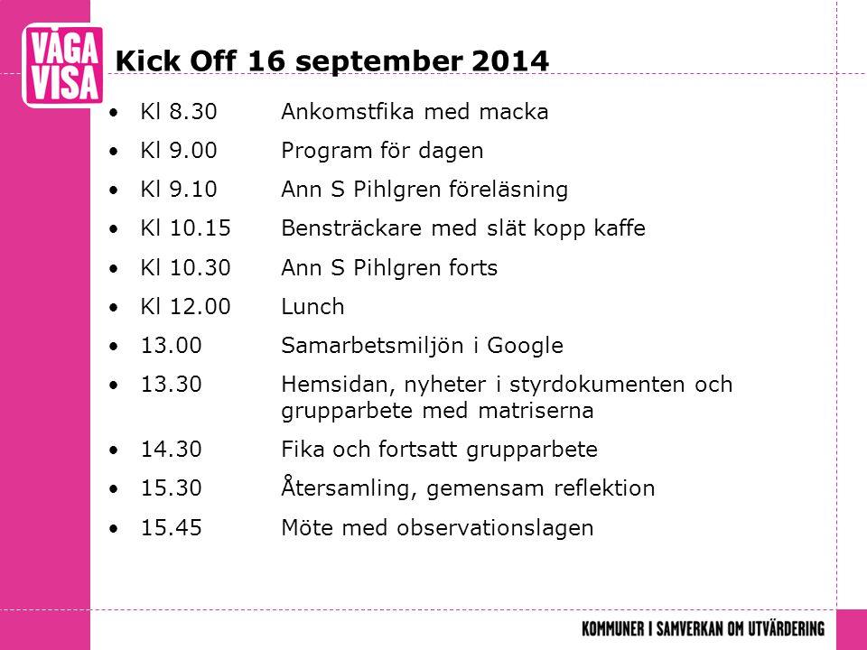 Kick Off 16 september 2014 Kl 8.30Ankomstfika med macka Kl 9.00Program för dagen Kl 9.10Ann S Pihlgren föreläsning Kl 10.15Bensträckare med slät kopp kaffe Kl 10.30Ann S Pihlgren forts Kl 12.00Lunch 13.00 Samarbetsmiljön i Google 13.30 Hemsidan, nyheter i styrdokumenten och grupparbete med matriserna 14.30 Fika och fortsatt grupparbete 15.30 Återsamling, gemensam reflektion 15.45 Möte med observationslagen