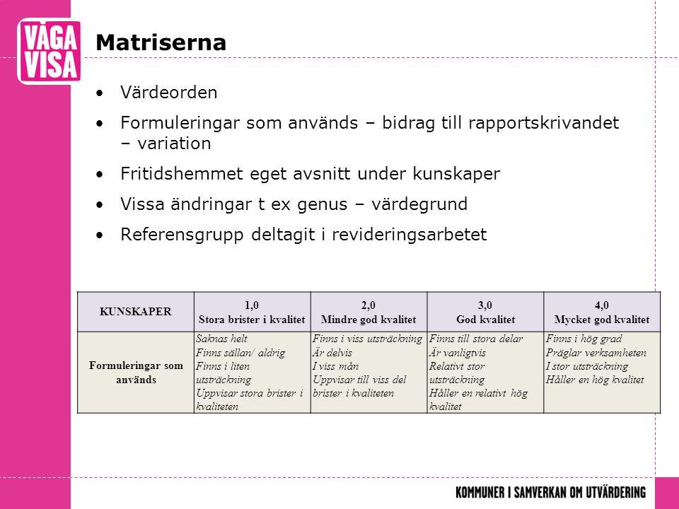 Matriserna Värdeorden Formuleringar som används – bidrag till rapportskrivandet – variation Fritidshemmet eget avsnitt under kunskaper Vissa ändringar