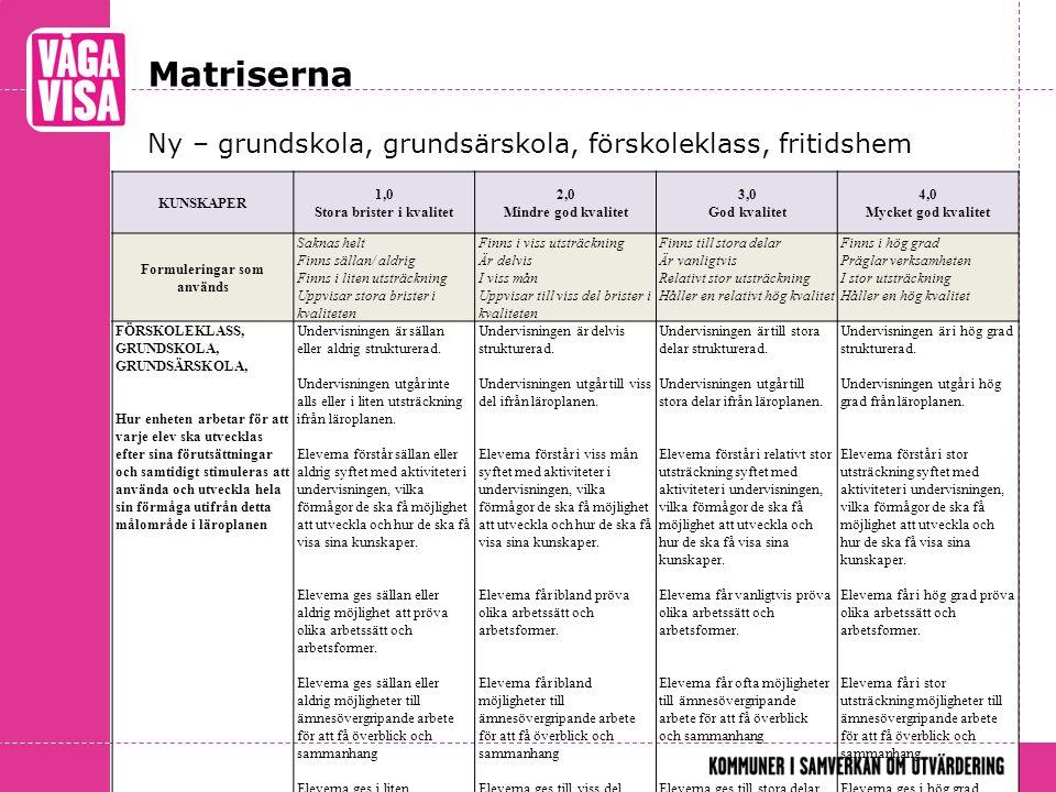 Matriserna Ny – grundskola, grundsärskola, förskoleklass, fritidshem KUNSKAPER 1,0 Stora brister i kvalitet 2,0 Mindre god kvalitet 3,0 God kvalitet 4,0 Mycket god kvalitet Formuleringar som används Saknas helt Finns sällan/ aldrig Finns i liten utsträckning Uppvisar stora brister i kvaliteten Finns i viss utsträckning Är delvis I viss mån Uppvisar till viss del brister i kvaliteten Finns till stora delar Är vanligtvis Relativt stor utsträckning Håller en relativt hög kvalitet Finns i hög grad Präglar verksamheten I stor utsträckning Håller en hög kvalitet FÖRSKOLEKLASS, GRUNDSKOLA, GRUNDSÄRSKOLA, Hur enheten arbetar för att varje elev ska utvecklas efter sina förutsättningar och samtidigt stimuleras att använda och utveckla hela sin förmåga utifrån detta målområde i läroplanen Undervisningen är sällan eller aldrig strukturerad.