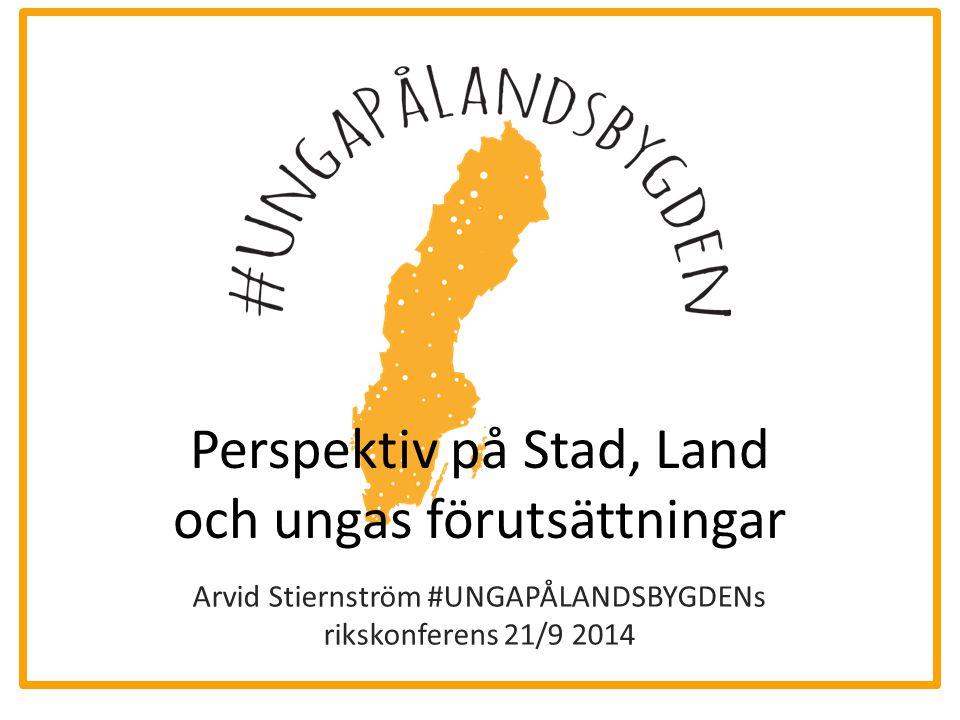 Perspektiv på Stad, Land och ungas förutsättningar Arvid Stiernström #UNGAPÅLANDSBYGDENs rikskonferens 21/9 2014