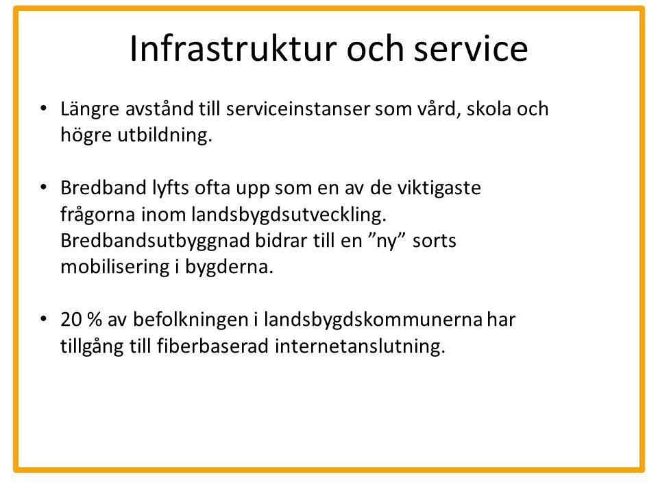 Infrastruktur och service Längre avstånd till serviceinstanser som vård, skola och högre utbildning. Bredband lyfts ofta upp som en av de viktigaste f