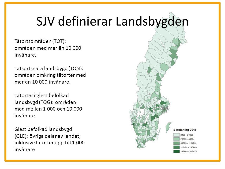 SJV definierar Landsbygden Tätortsområden (TOT): områden med mer än 10 000 invånare, Tätsortsnära landsbygd (TON): områden omkring tätorter med mer än