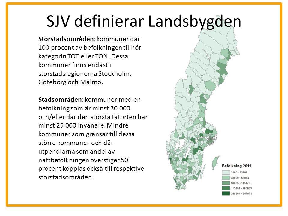 SJV definierar Landsbygden Landsbygd: kommuner som inte ingår i de två tidigare klassificeringarna (storstadsområden och stadsområden) och som samtidigt har en befolknings-täthet av minst fem invånare per km2.