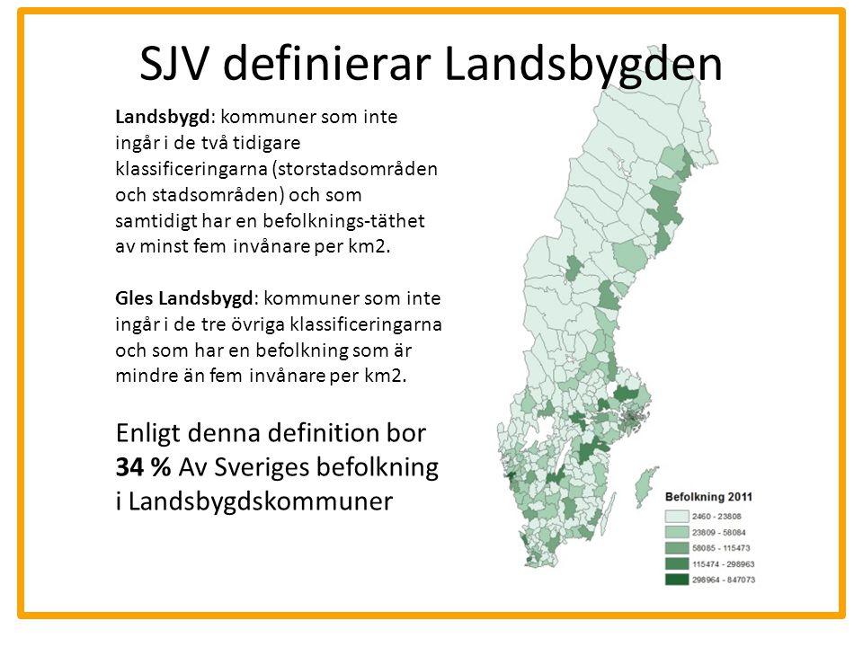 SJV definierar Landsbygden Landsbygd: kommuner som inte ingår i de två tidigare klassificeringarna (storstadsområden och stadsområden) och som samtidi
