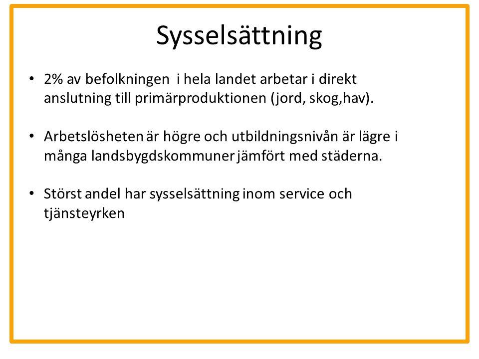 Infrastruktur och service Längre avstånd till serviceinstanser som vård, skola och högre utbildning.