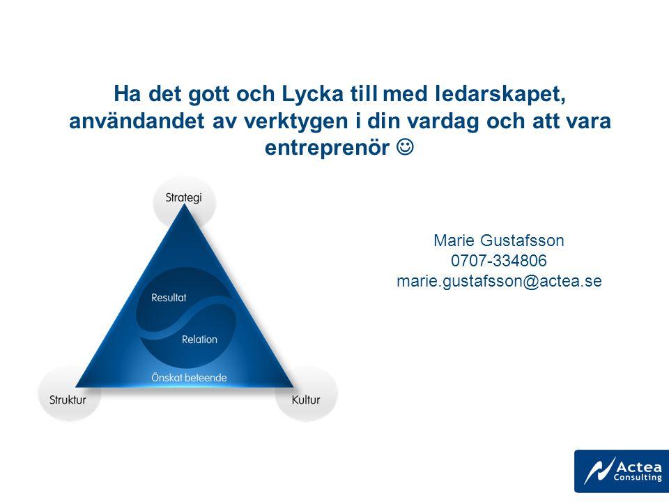 Marie Gustafsson 0707-334806 marie.gustafsson@actea.se Ha det gott och Lycka till med ledarskapet, användandet av verktygen i din vardag och att vara