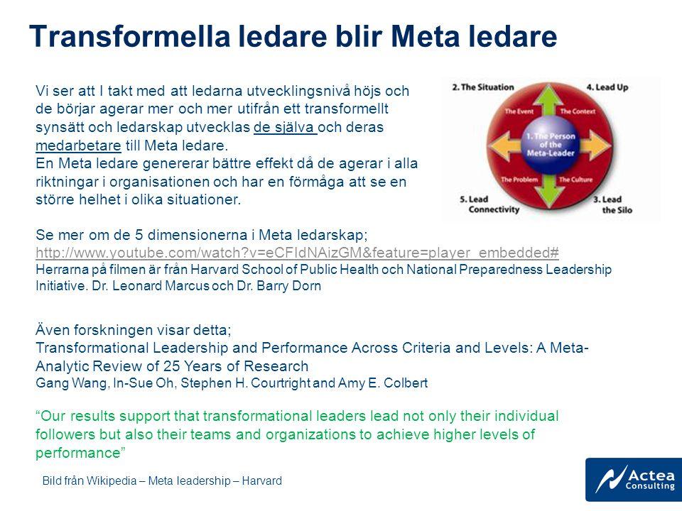 Transformella ledare blir Meta ledare Bild från Wikipedia – Meta leadership – Harvard Se mer om de 5 dimensionerna i Meta ledarskap; http://www.youtub
