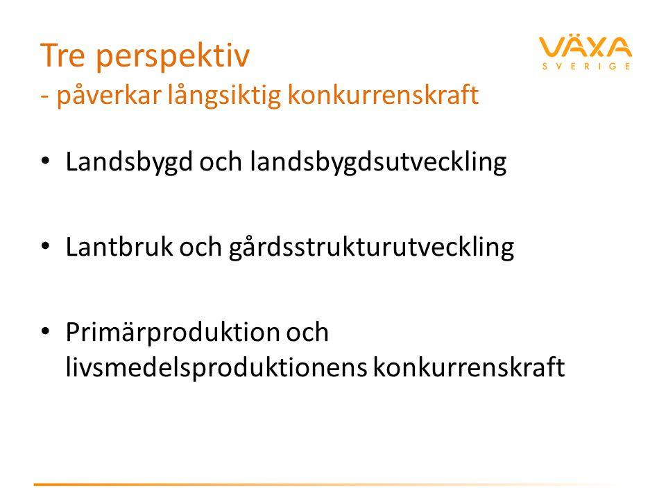Tre perspektiv - påverkar långsiktig konkurrenskraft Landsbygd och landsbygdsutveckling Lantbruk och gårdsstrukturutveckling Primärproduktion och livs