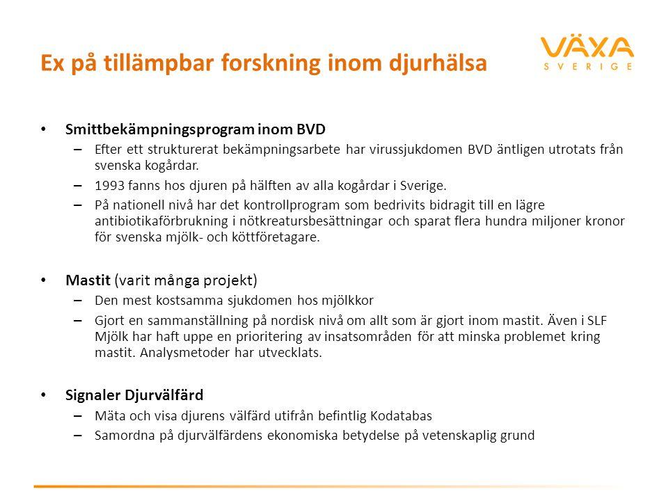 Ex på tillämpbar forskning inom djurhälsa Smittbekämpningsprogram inom BVD – Efter ett strukturerat bekämpningsarbete har virussjukdomen BVD äntligen
