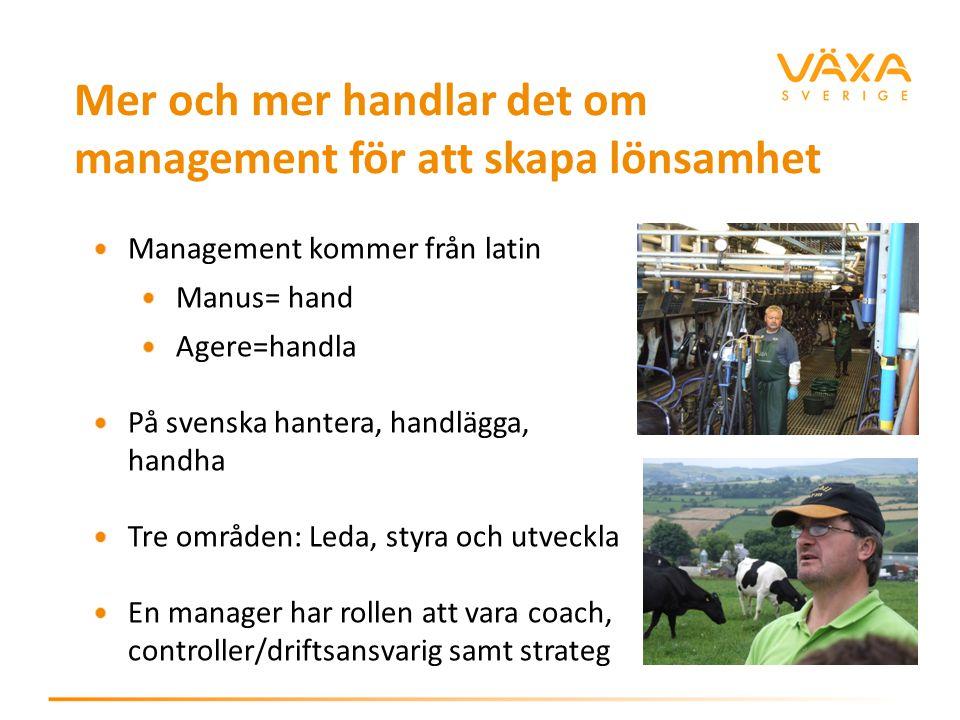 Mer och mer handlar det om management för att skapa lönsamhet Management kommer från latin Manus= hand Agere=handla På svenska hantera, handlägga, handha Tre områden: Leda, styra och utveckla En manager har rollen att vara coach, controller/driftsansvarig samt strateg